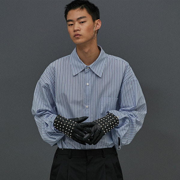 [ESCSTUDIO:이에스씨스튜디오] Sleeve open shirt (blue)