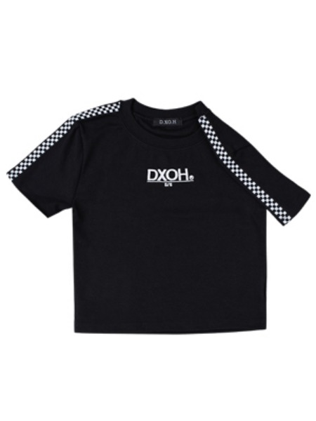 [DXOH:디쏘에이치] 19ss Logo Check crop [ Black ]