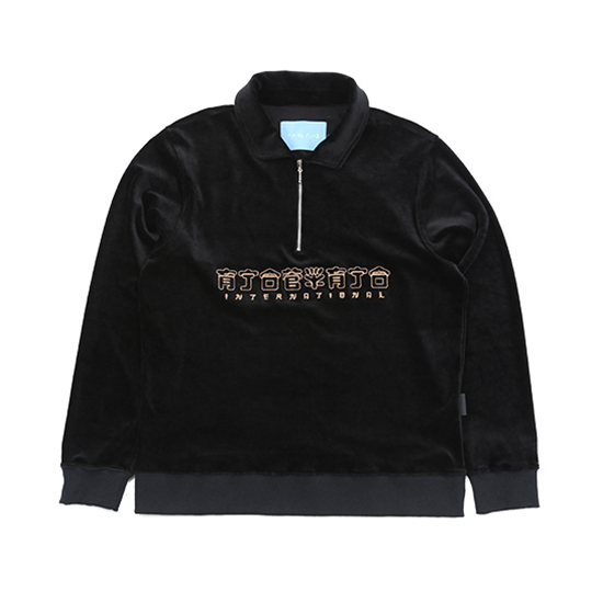 [아조바이아조 :AJOBYAJO FINK] CH Logo Velour Half Zip-Up [Black]