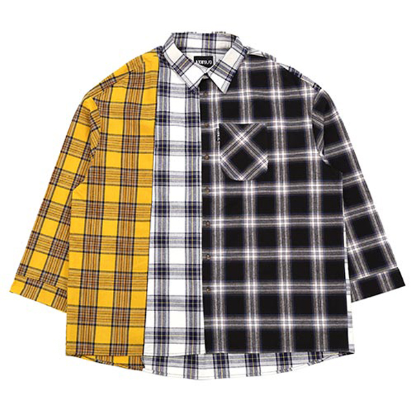 [아조바이아조:AJOBYAJO] Over Check Mixed Shirt  (Yellow)