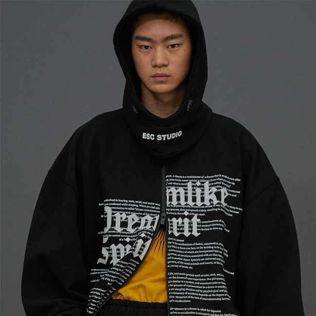 [ESCSTUDIO:이에스씨스튜디오] Long zipper hood MTM (black)