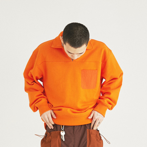 [컨츄리파우더:countrypowder]  COUNTRY COLLAR SWEATSHIRTS(ORANGE)