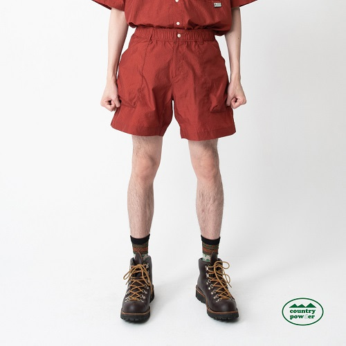 [컨츄리파우더:countrypowder]  HIKE BANDING CHECK SHORTS (BRICK RED)