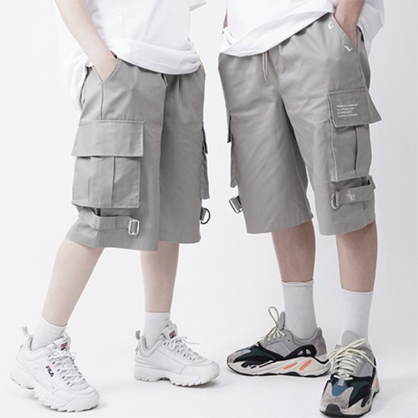 [A.CLOWN:에이클라운] OD Strap Wide Cargo Short-Pants GREY KHAKI