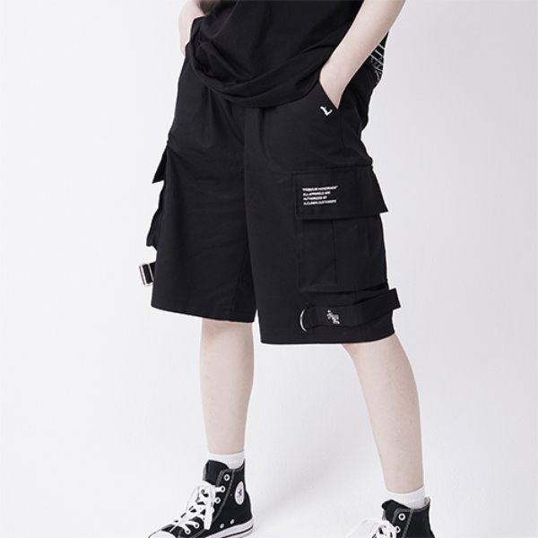 [A.CLOWN:에이클라운] OD Strap Wide Cargo Short-Pants BLACK