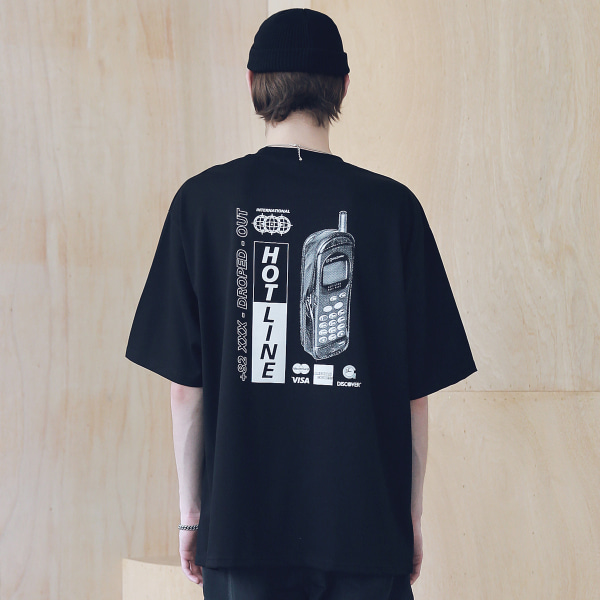 [매스노운 : MASSNOUN] HOT-LINE OVERSIZED T-SHIRTS MSNTS008-BK