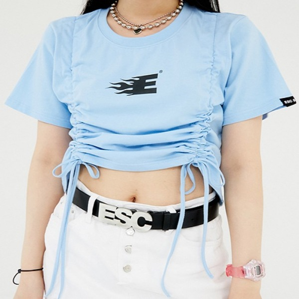 [ESCSTUDIO:이에스씨스튜디오] Shirring crop T-shirt (sky blue)