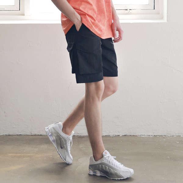 [매스노운 : MASSNOUN] SIDE TWO POCKET SHORT PANTS MSNSP004-BK [6/13 배송]
