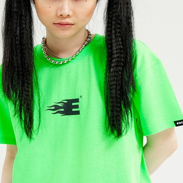 [ESCSTUDIO:이에스씨스튜디오] Line T-shirt (fluorescent green)