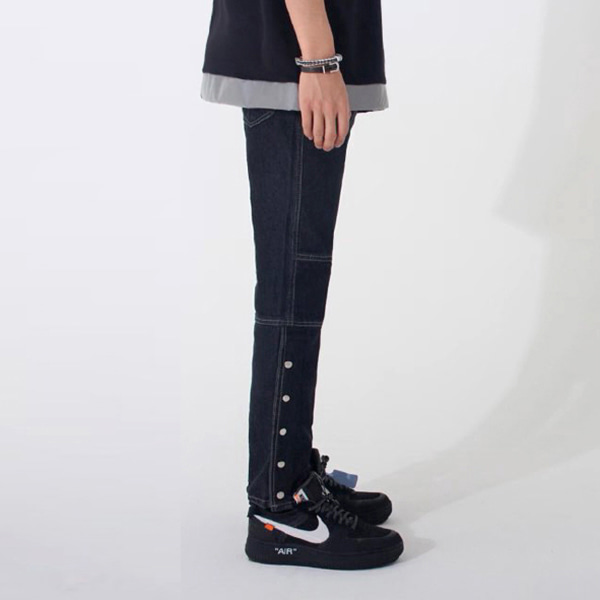 [안단테 에디션:andante edition] Side Snap Denim Jean - Black