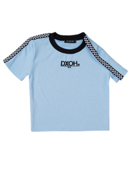 [DXOH:디쏘에이치] 19ss Logo Check crop [ sky blue ]
