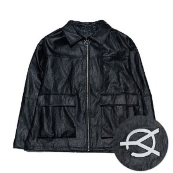 [오와이:OY] LEATHER JACKET - BLACK
