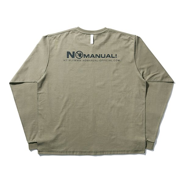 [노매뉴얼:nomanual] WARNING LONG SLEEVE TEE - LIGHT KHAKI