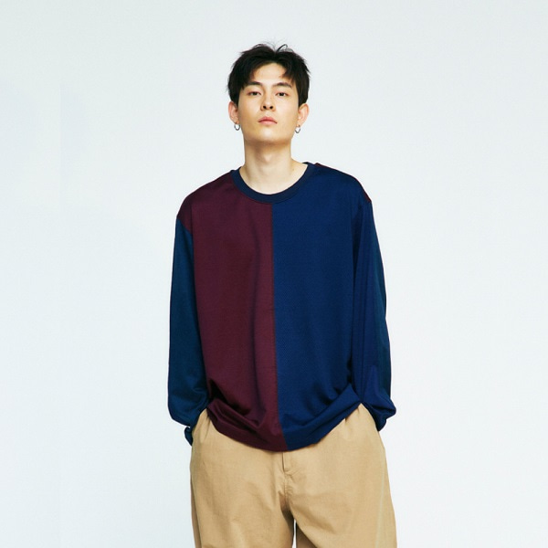[컨츄리파우더:countrypowder] OVERSIZE COLOR BLOCK T SHIRTS (NAVY)