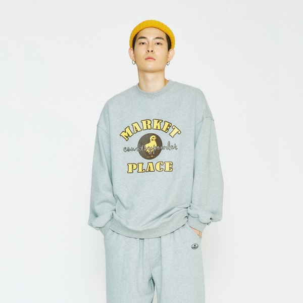 [컨츄리파우더:countrypowder] OVERSIZE MARKET GRAPHIC SWEATSHIRTS (GREY)