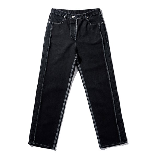 [노매뉴얼:nomanual] 19 REVERSED DENIM PANTS - BLACK