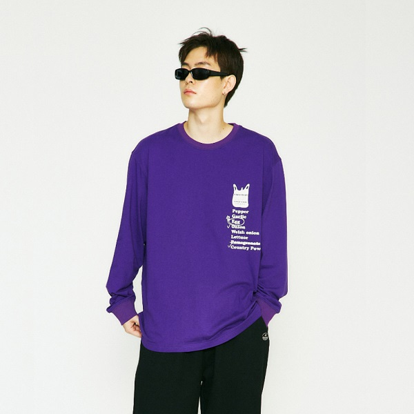 [컨츄리파우더:countrypowder] OVERSIZE MARKET GRAPHIC T SHIRTS (PURPLE)