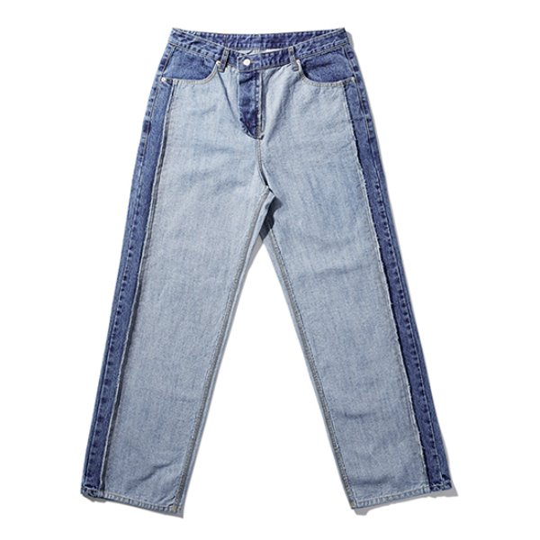[노매뉴얼:nomanual] 19 REVERSED DENIM PANTS - BLUE