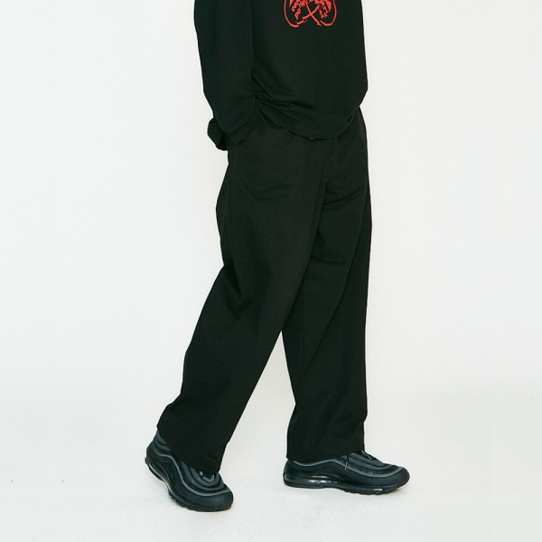 [컨츄리파우더:countrypowder] STRING WIDE COTTON PANTS (BLACK)