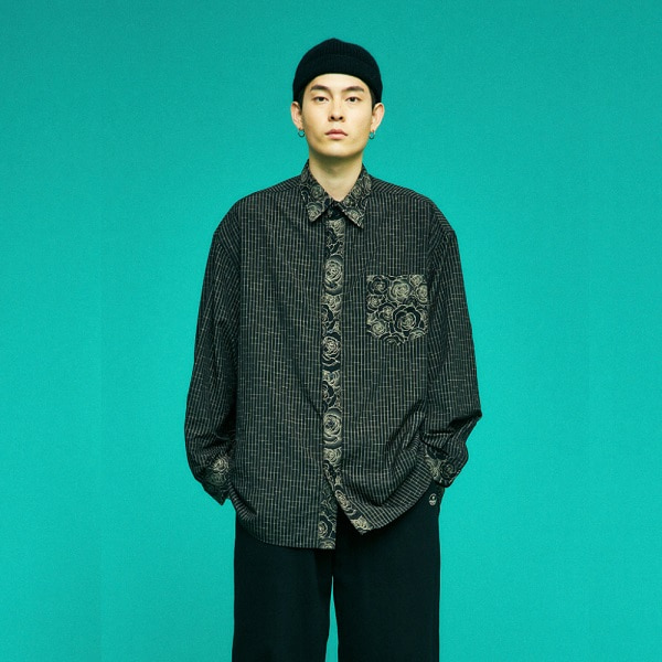 [컨츄리파우더:countrypowder] FLOWER BLOCK OVERSIZE SHIRTS (BLACK)