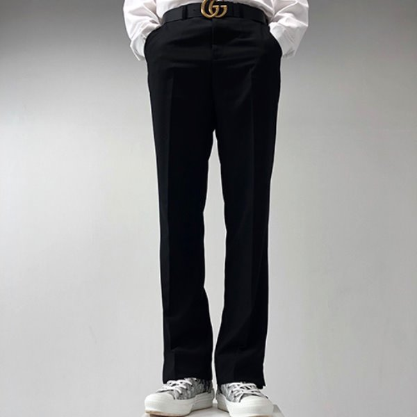 [포블레스:4BLESS] Semi Wide Slacks Black