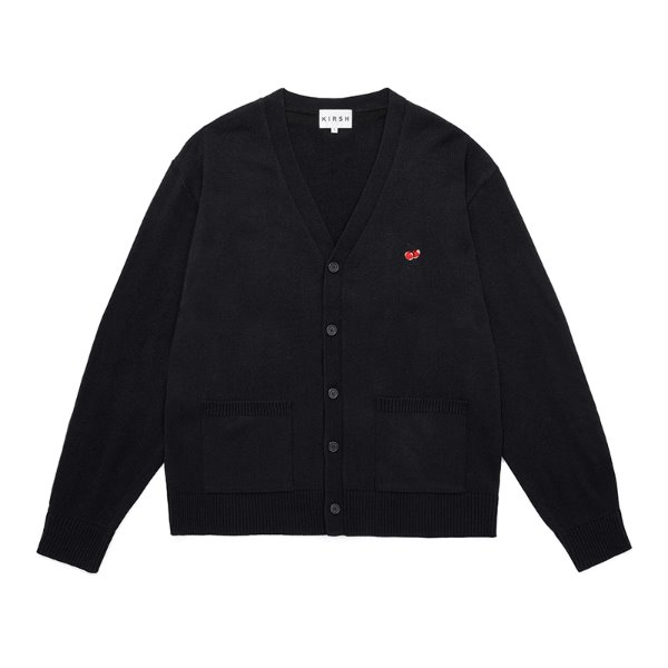 [키르시:KIRSH] SMALL CHERRY V NECK CARDIGAN JS [BLACK]