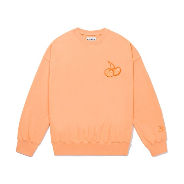 [키르시:KIRSH] TONE ON TONE MIDDLE CHERRY SWEATSHIRT JS [LIGHT ORANGE]