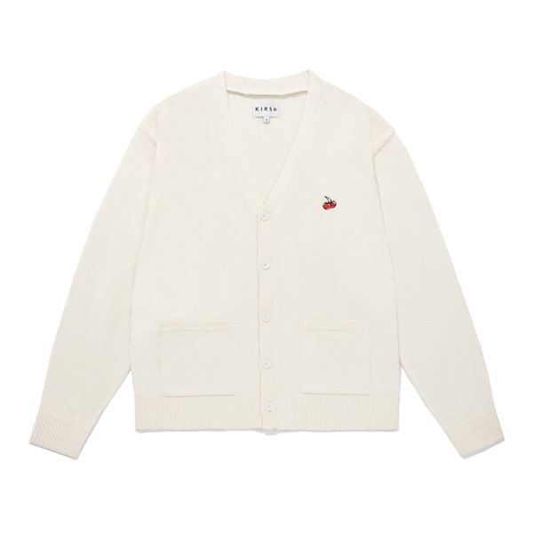 [키르시:KIRSH] SMALL CHERRY V NECK CARDIGAN JS [IVORY]