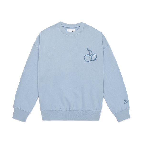 [키르시:KIRSH] TONE ON TONE MIDDLE CHERRY SWEATSHIRT JS [LIGHT BLUE]
