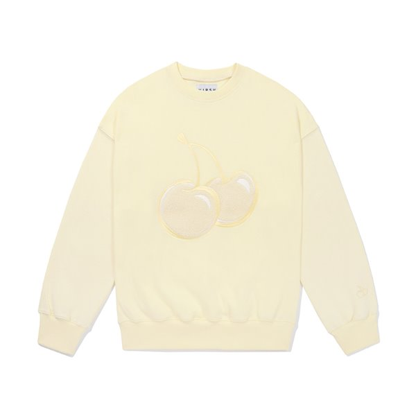 [키르시:KIRSH] TONE ON TONE BIG CHERRY SWEATSHIRT JS [CREAM]