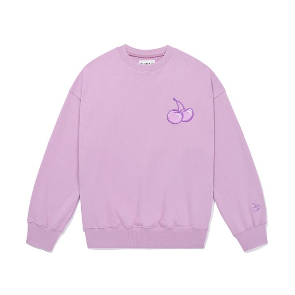 [키르시:KIRSH] TONE ON TONE MIDDLE CHERRY SWEATSHIRT JS [LIGHT VIOLET]