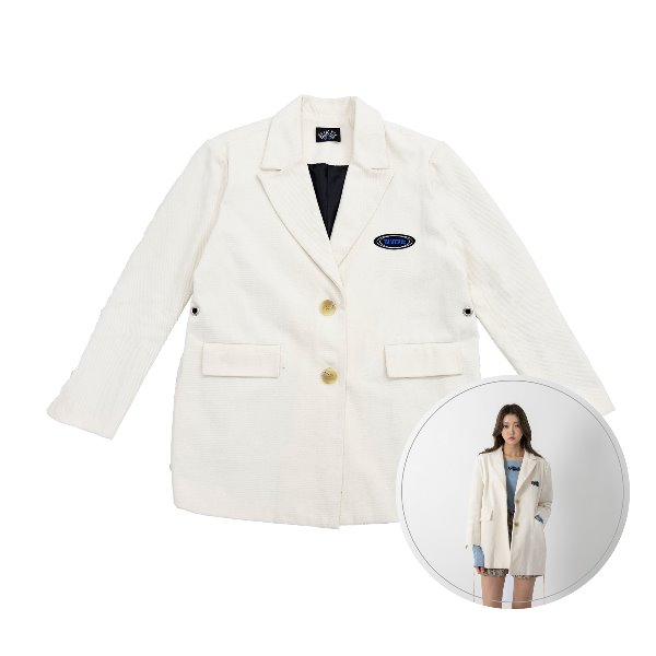 [BLUE PIE:블루파이] Over Fit Eyelet & Strap Jacket - CREAM