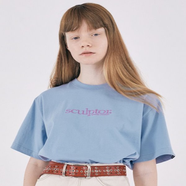 [SCULPTOR:스컬프터] Small Logo Embroidery Tee [BABY BLUE]