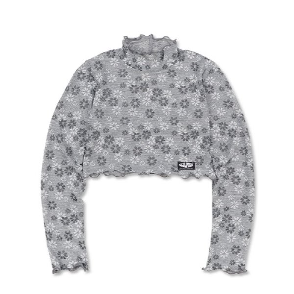 [SCULPTOR:스컬프터] Sheer Floral Cropped Turtleneck [LIGHT GREY]