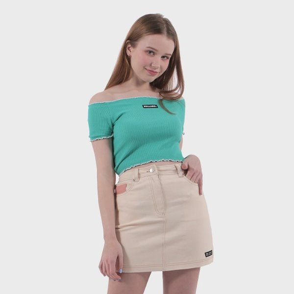 [바이얼민스:BYALLMINS] Edge color point off shoulder top (GREEN)