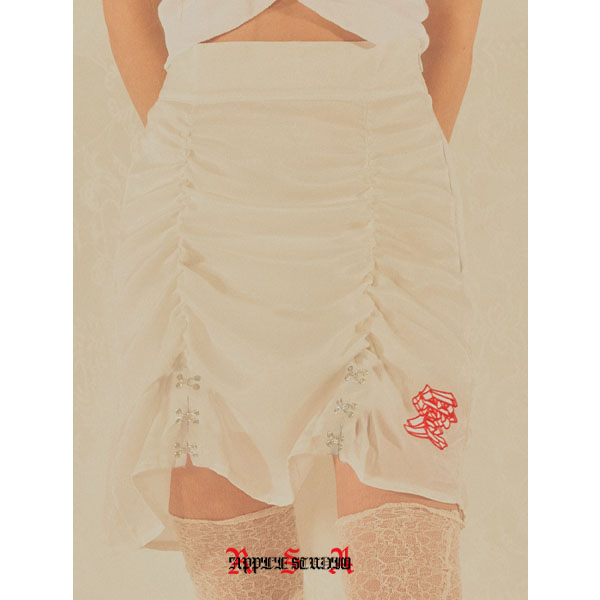 [로즈애플:roseapple] 202-H&I SHIRRING SATIN SKIRT - WHITE