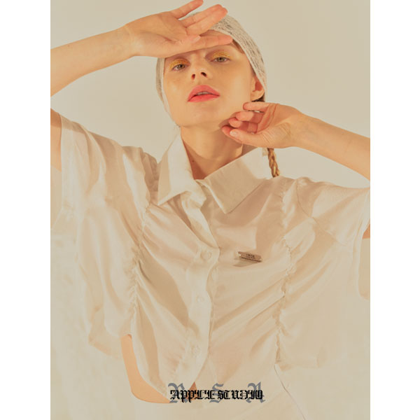 [로즈애플:roseapple] 202-SHIRRING SATIN SHIRTS - WHITE