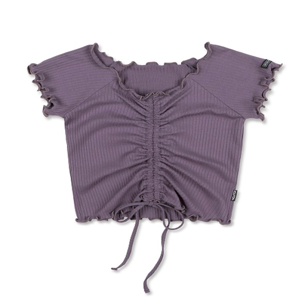 [SCULPTOR:스컬프터] Shirring Lettuce-Edge Top [MAUVE]