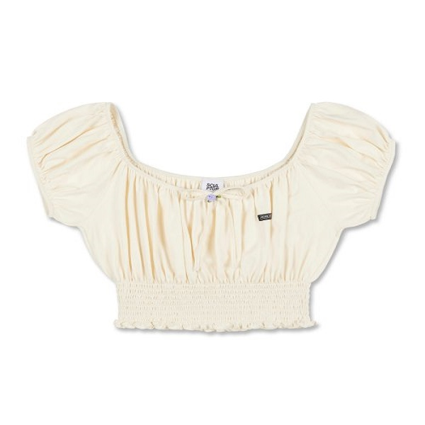 [SCULPTOR:스컬프터] Smocked Rose Crop Top [CREAM]